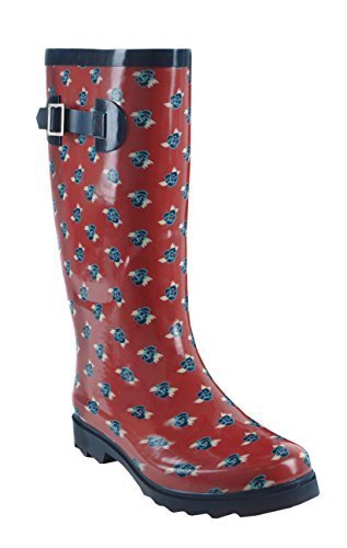 Hari Deals Ladies Women Ditsy Red Flower Print Waterproof Wellington Wellies Boots