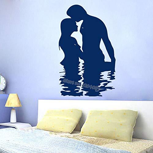zqyjhkou Mann Und Frau Liebe Im Wasser Wandaufkleber Dekor Familie Paar Schlafzimmer Warme Dekoration Wohnzimmer Vinyl Romantische Abziehbilder Ea145 56x88 cm