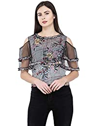 7bc3723a7604e POPWINGS Casual Round Neck Cold Shoulder White Floral Printed pochu Style  top