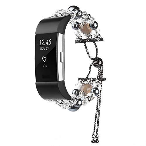 Hunpta@ Uhrenarmband für Fitbit Charge 2 Mode Sport Teleskop Kette Perlen Armband Armband (Schwarz)