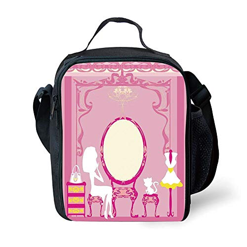 ZKHTO School Supplies Girls,Lady Sitting in Front of French Cosmetic Make Up Mirror Furniture Dressy Design,Pink Yellow for Girls or Boys Washable - Zip-front-lab