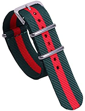 16mm Armee grün / rot hochwertiger NATO Stil super bequeme Armbanduhr Nylon Frauen adrette Art Band