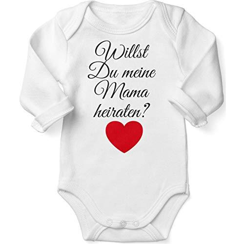 Mikalino Babybody mit Spruch für Jungen Mädchen Unisex Langarm Willst Du Meine Mama heiraten ? | handbedruckt in Deutschland | Handmade with Love, Farbe:Weiss, Grösse:62