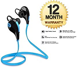 Shopzie Bluetooth 4.1 Stereo Sport Headphones With Earhooks for Android/iOS Devices (Color may vary)