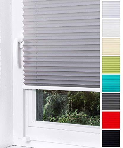 Home-Vision Plissee Faltrollo ohne Bohren mit Klemmträger / -fix (Grau, B25cm x H120cm) Thermoplissee Sonnenschutz Jalousie für Fenster & Tür