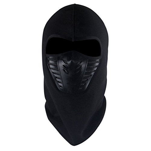 Tagvo Warm Balaclava Full Face Mask Cover with Breathable Mesh Silicone Panel, Winter Fleece Neck Warmer Wind Proof, Fit Helmet Hat for Adults - Elastic Size Universal(Black)