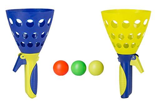 Idena 40006 Fangballspiel XXL mit 2 Fangbechern, inklusive 3 Bällen, Ballspiel für Garten, Park oder Strand, blau gelb