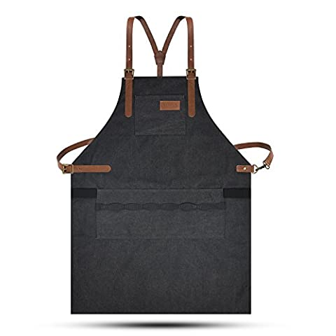 Lurad Outil Tablier durable Duty sur toile étanche et réglages de taille Atelier Tablier avec poches pour homme et femme, Noir 1, Leather Style