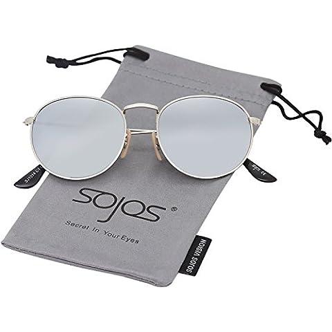 SojoS Ronde Vintage Rétro Miroir Anti-UV Lunettes de Soleil Unisexe Polarisées SJ1014 avec Argenté Cadre/Argenté Lentille