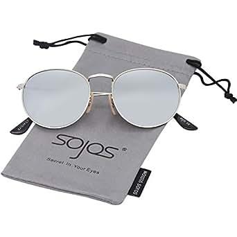 SOJOS Rotonda Retro Vintage Specchio Lenti Polarizzate Protezione UV Occhiali da Sole SJ1014 Con Argento Telaio/Argento Lente