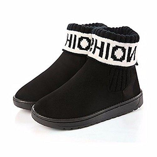 ZHUDJ Scarpe Donna Autunno Snow Boots Stivali Tacco Piatto Punta Tonda Per Casual Giallo Grigio Scuro Nero Blu Black