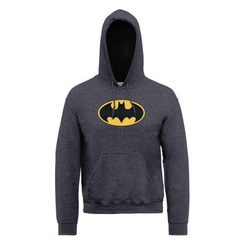 DC Comics Herren, Kapuzenpullover, DC0000031 Official Batman Logo Grau (Dark Heather)