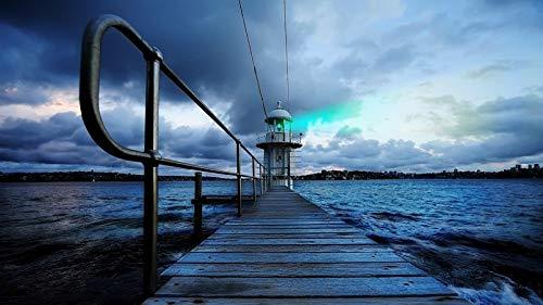 ClassicJP Puzzles 1000 Stück Leuchtturm In Sydney Meer Nacht Wasser Lichter Stadt Für Erwachsene Familie Geschenk -