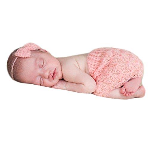Neugeborenen Babyfotografie Props Kostüm Jungen Mädchen Baby Fotografieren Fotoshooting Set Requisiten Accessoire Schmetterling Kopfschmuck Kleid (Pink)