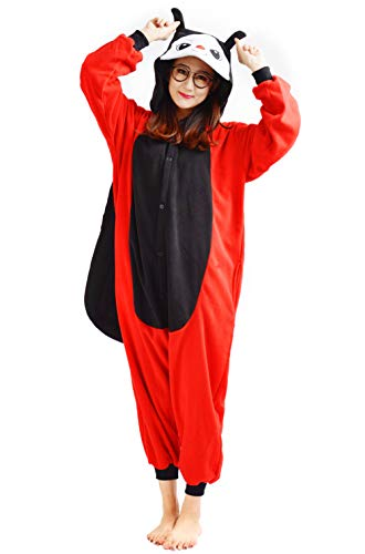 (Unisex Kigurumi Jumpsuit Tier Pyjamas Kostüm Fasching Onesie Damen Herren Karneval Cosplay Nachtwäsche, Marienkäfer)