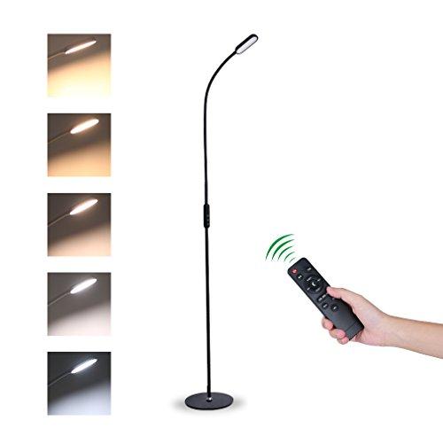 Tonffi Fernbedienung Stehleuchte leselampe dimmbar 9W LED mit Touch-Schalter Schwanenhals 360 drehbarem 5 Helligkeitsstufen schwarz (Deckenfluter Ist Stehlampe Leselampe)
