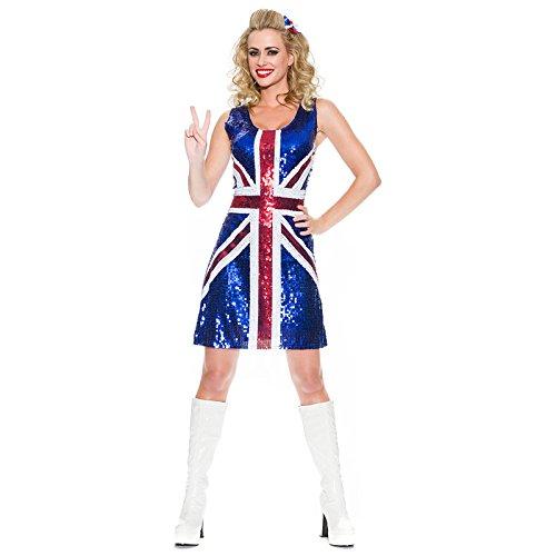 (Rule Britannia SEXY PAILLETTEN BLAU dick Festgeschnallt Union Jack England patriotisch Damen Kostüm Outfit Ingwer Spice Girls von fett-catz-kopie-catz)