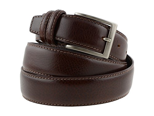Cintura uomo in pelle marrone scuro classica artigianale made in Italy 3,5 cm (105 cm (40/42 EU))