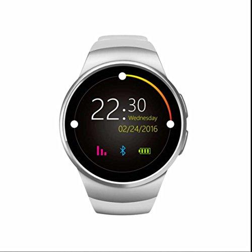 Smart Watch mit SIM / TF Card Slot Schrittzähler Herzfrequenz Smartwatch Aktivität Tracker mit Romte Capture / Wecker / Kalorienzähler / Schlaftracker / 1.3 Zoll Touch Screen Smartwatch Armbanduhr Watch Phone für Android / iOS Smartphones (Weiß)