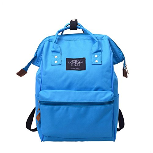 Unisex School Bag Zipper Solid Backpack School Travel Bag Shoulder Bag Zipper Bag
