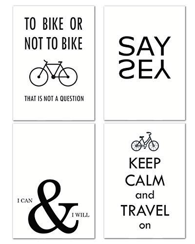 Love & Smile® Poster schwarz weiß 4er Set I Bike & Lifestyle I DIN A4 I Deko Wohnbereich Wohnzimmer Küche I ohne Rahmen