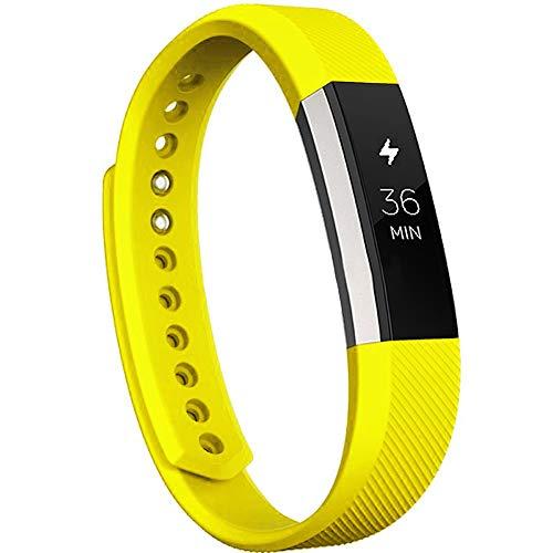 WAOTIER für Fitbit Alta Armband Silikon Armband Kompatibel für Fitbit Alta Ersatzarmband Weiche Silikon Wechselband mit Schnellverschluss Wasserdicht Armbänder für Männer Damen (Gelb)