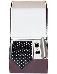 Navaksha Black Square Design Micro Fiber Necktie,Pocket Square and Cufflinks Gift Set for Men