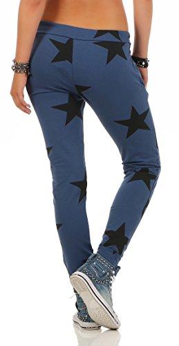 Mr. Shine Damen Sweatpants Baggy Hose Boyfriendhose Freizeithose Jogginghose Fitness Sporthose Yogapants Jogger Loose Fit Big Star S-XXXL Jeans Blau