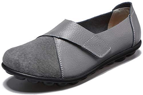 Yooeen Damen Mokassins Bootsschuhe Leder Arbeitsschuhe Freizeit Flache Loafers Halbschuhe Fahren Sandalen Klettverschluss Erbsenschuhe (Frauen Loafer Grau)
