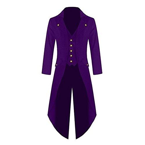 Decha Herren Langer Mantel Steampunk Viktorianischen Frack Jacke Vintage Gothic Uniform Cosplay Kostüm Smoking (Uniform Vintage)