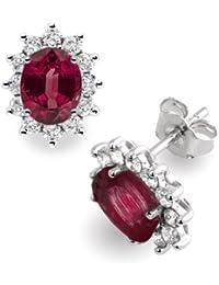 Diamond Manufacturers - Boucles d'Oreilles Femme avec 24 diamanten - Platine