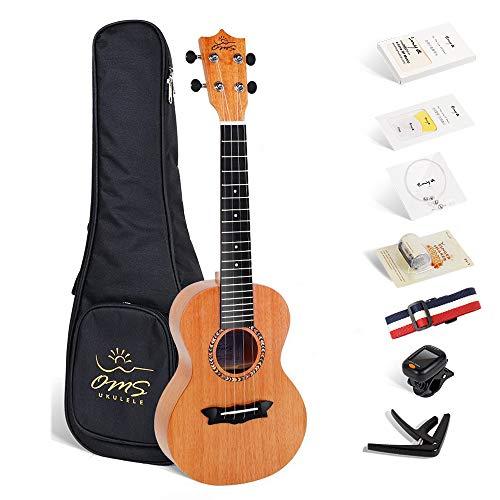 Enya ukulele Concerto OMS-02 23 pollici con top in mogano massiccio, borsa imbottita, accordatore, tracolla, capotasto, corde di scorta, plettri, panno per la pulizia, fingershaker