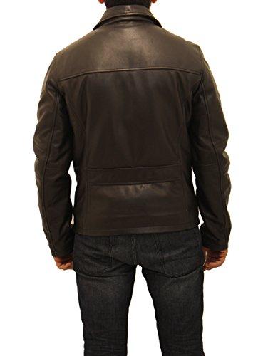 Hommes Veste en cuir de vache Harrington bodytight blouson veste Noir