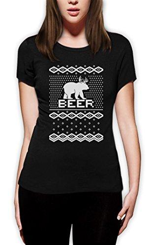 BEAR + DEER = BEER -- Witziger Weihnachtspulli Frauen T-Shirt Schwarz