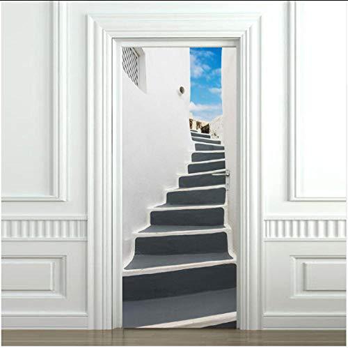 Newberli Griechenland Steilen Schritt Tür Aufkleber Entfernbare Wandaufkleber Schlafzimmer Wohnzimmer Diy Renovierung Tapete Raumdekoration Poster