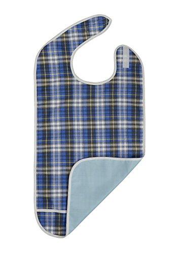 Erwachsenen-Lätzchen–wiederverwendbar Kleidung Displayschutzfolie–wasserdicht–Auffangschale–maschinenwaschbar–Extra Lang Senior Damen und Herren Lätzchen für Essen von modaliv (blau)