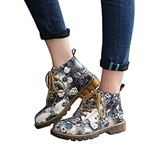 Mitlfuny Women Ladies Casual Shoes Waterproof Floral Print Boots Soft Flat Ankle Martin Shoes Lace-Up Boots Cashmere Winter Warmer Boots (38, Gray)