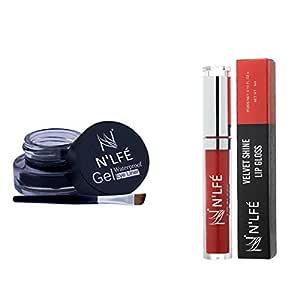 Nelf Gel Eyeliner, Black, 3g and Velvet Shine Lip-Gloss, Berry Red, 6g