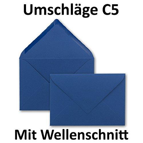 DIN C5 Briefumschläge mit Wellenschnitt - Dunkelblau | 50 Stück | 162 x 229 mm | 120 g/m² | Spitze Verschlussklappe, Nassklebung | mit gewelltem Rand | PREMIUM Papier aus dem Hause GUSTAV NEUSER