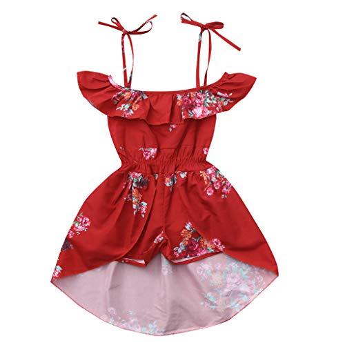 JUTOO Kleinkind Baby Mädchen Schulterfrei Blumendruck Rüschen Hose Rock Outfits (rot,80)
