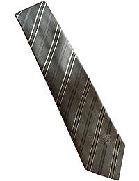 Versace Made In Italy Grey Silver Stripe 100% Silk Men's Tie