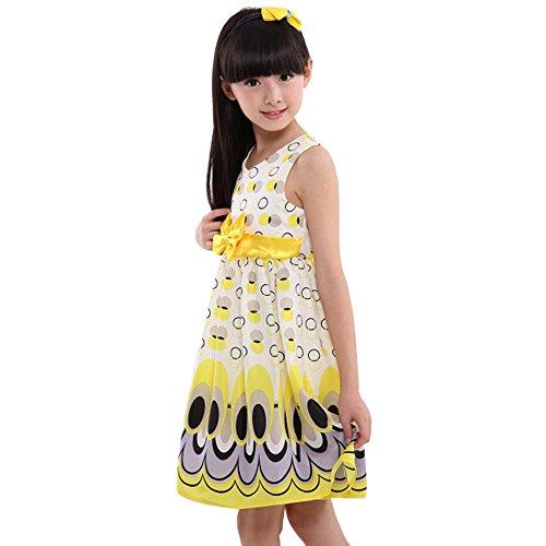 Honestyi BabyBekleidung Kinder Mädchen Bogen Gürtel ärmellose Blase Pfau Kleid Party Kleidung Outfits (L,Gelb)
