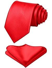 HISDERN Cravate de couleur unie mouchoir mouchoir de mariagehommes classique cravate & pochette de poche ensemble-plusieurs couleurs