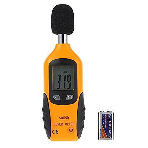 Cadrim Digital Schallpegelmessgerät, Tragbar Digital Sound Level Meter, Mess 30dBA~130dBA mit eine 9V batterie