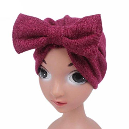 Mädchen Kinder-baseball-jersey (LuckyGirls Kinder Baby Mädchen Boho Hut Schmetterlingsknoten Kaschmir Turban Kopf Wrap Cap Haarschmuck (rot))