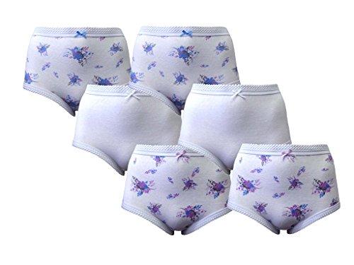 6Paar Damen Big Größe 100% Baumwolle Miederteil Full Slip Mädchen Underwear Plus Größe 12–30 Gr. 40, Lilac/White/Blue 6PK Size 12-14 (Slip Baumwoll-slip-full)