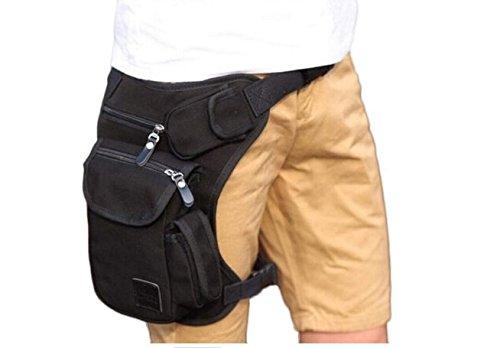 moaeuro Multifunktions Tasche, Outdoor Baumwolle Sport Bein Tasche Leinwand Tasche Geld aus, Gürteltasche Schwarz