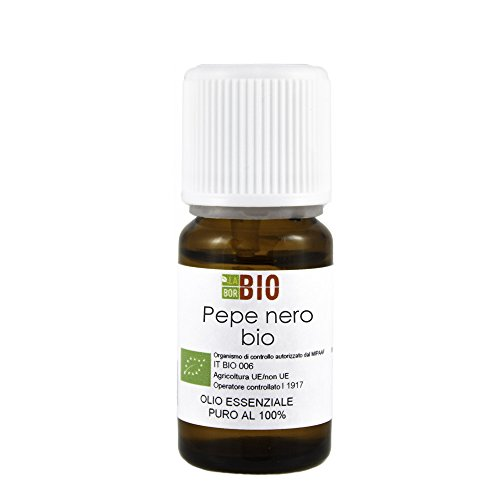 Olio essenziale PEPE NERO BIO 5ML 100% PURO E NATURALE - AROMATERAPIA COSMETICA ALIMENTARE