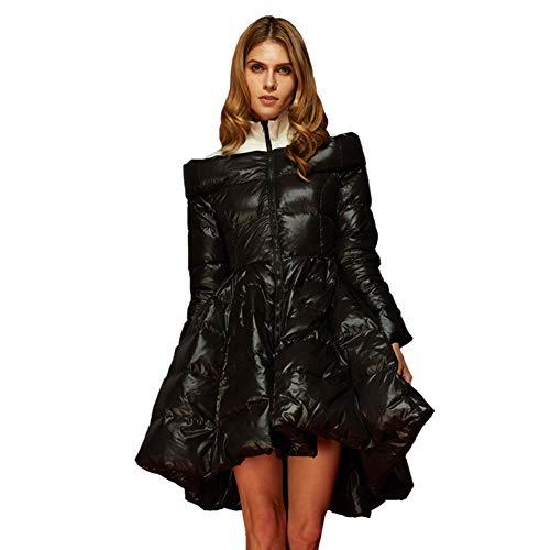 RSTJ-Sjc Winter Embroidered Down Jacket Women'S Long Section Luxury Personality Fashion Women'S Gas Field Jacket Waterproof Camping Warm Waist Winter Clothing, Black, XL (Daunenjacke North Xl Face Womens)