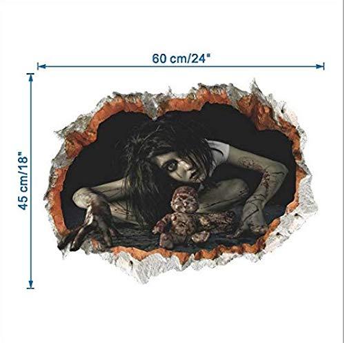 Zdan.uu Halloween Pegatinas Fantasma Miedo Sangriento decoración 3D Pared Roto Etiqueta de la Pared decoración del hogar